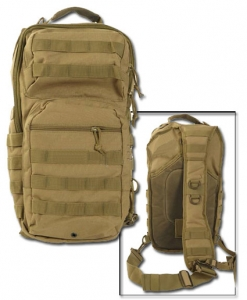 Mil-Tec Eingurt (One Strap) Assault Rucksack coyote GROSS