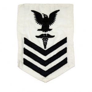 US Aufnäher Navy Petty Officer First Class weiß
