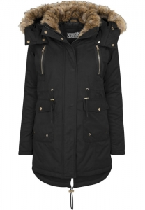 Ladies Imitation Fur Parka schwarz