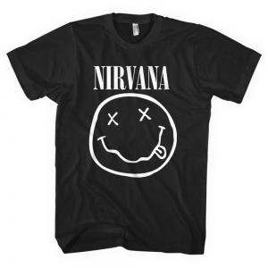 Nirvana - White Smiley, T-Shirt schwarz